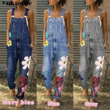 Jumpsuit Jeans Floral-Printed Rompers Pants Overalls Girls Sexy Women Denim Ladies New-Arrival