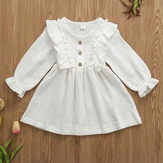 0-5Y Toddler Kids Baby Girl Autumn Dress Ruffles Long Sleeve Solid Cotton Linen Party Casual Dress Clothes 2