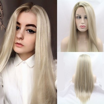 Sylvia Heat Resistant Hair Ombre Blonde Synthetic Lace Front Wig For Women Side Part Long Silky Straight Wig Half Hand Tied 1
