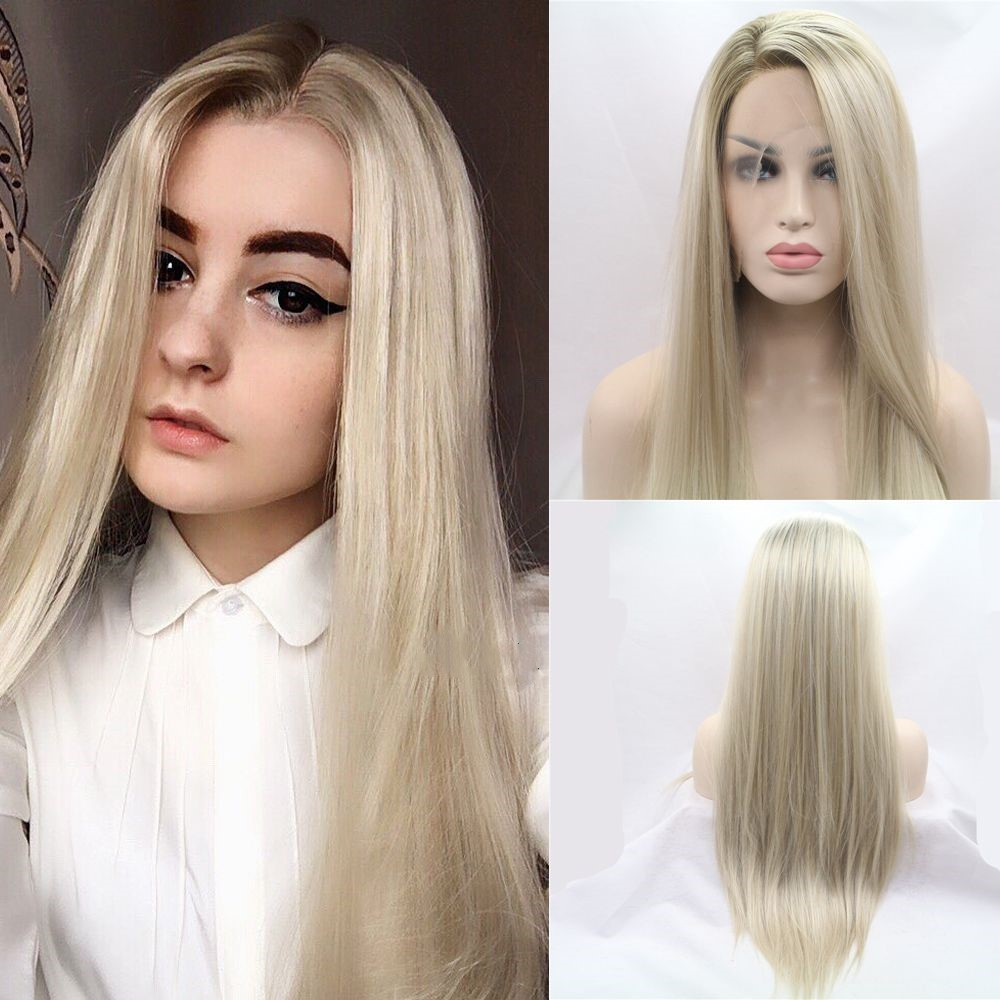 Sylvia Heat Resistant Hair Ombre Blonde Synthetic Lace Front Wig For Women Side Part Long Silky Straight Wig Half Hand Tied