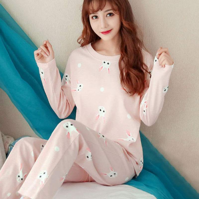 Women Pajamas Set Spring Autumn Thin Cartoon Printed Long Sleeve Cute Sleepwear Casual Homewear Pyjamas For Women For Women