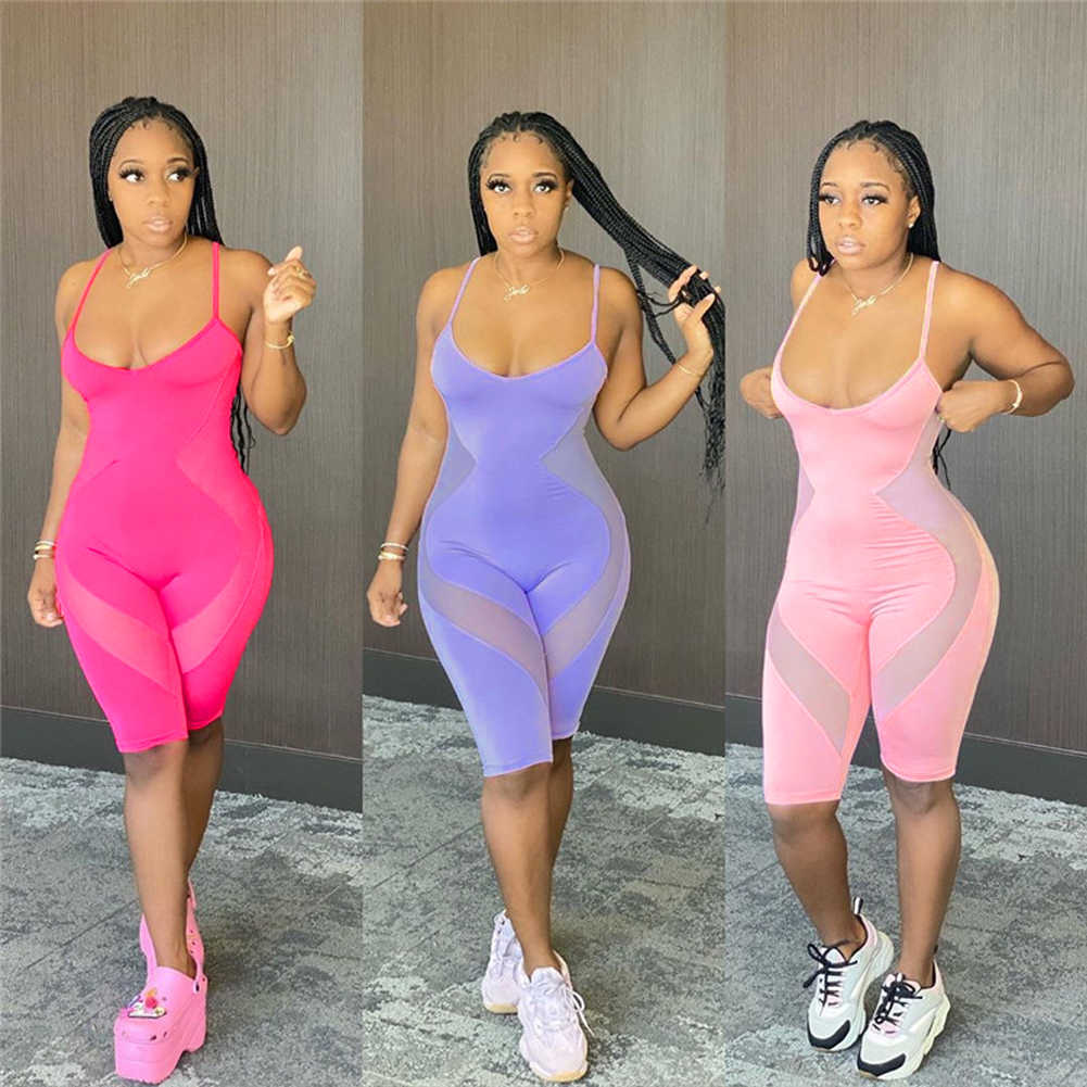 Mesh Sheer Patchwork See Through Jumpsuit Playsuit 2020 Sexy Vrouwen S; Eeveless Strap Bodycon Slim Rompertjes Zomer Shorts Jumpsuit