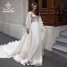 Vestido de Noiva lüks boncuklu düğün elbisesi 2020 Swanskirt peri aplikler A Line kollu prenses Illusion gelin kıyafeti DY08