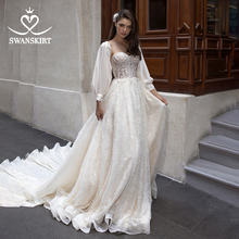 Vestidoデnoiva高級ビーズのウェディングドレス 2020 swanskirt妖精アップリケaラインスリーブ王女イリュージョン花嫁DY08