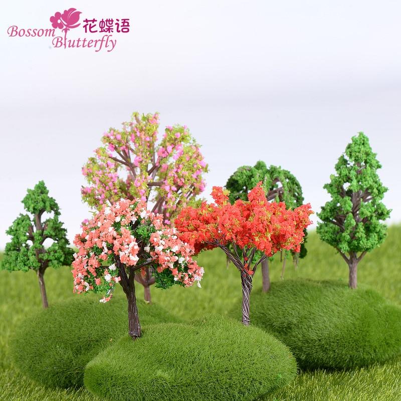 4 шт. различные стили мини дерево Фея Сад Миниатюрные микро пейзаж изделия из смолы фигурка бонсай Миниатюрные аксессуары для сада