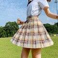 Summer JK Women Plaid Skirts Harajuku High Waisted Kawaii Pleated Skirt Japanese Style Ladies Sweet Plaid Mini Skirts Women Y2k