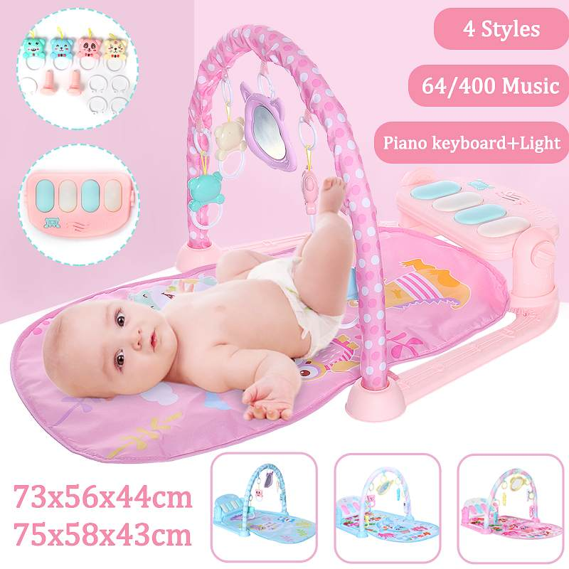 Baby Play-Mat Gym Toys Gaming Carpet 0-12 Months Soft Lighting Rattles Children's Music Mat Infant Crawling Activity Cradle Toys
