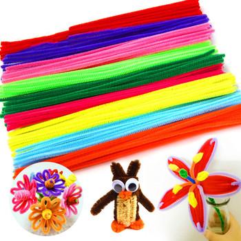 100 sztuk 14 kolory czyściki szenilowe dla DIY Handmade Craft elastyczne pluszowe drut metalowy kij Chenille rury DIY akcesoria do rękodzieł tanie i dobre opinie CN (pochodzenie) Tak ( 50 sztuk) 100 Pcs 14 Colors Chenille Stems
