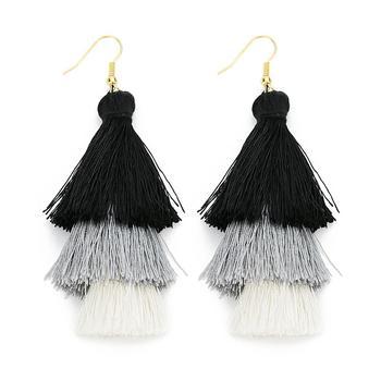 2020 3 Layered Bohemian Fringed Luxury Statement Tassel Earrings 2020  Boho Fashion Jewelry Women Long Drop Dangle Earrings 5