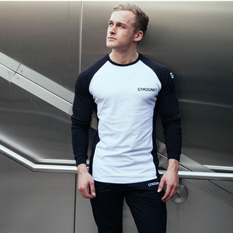 Long Sleeve T Shirt Men Spring And Autumn Festival Moda Masculina Cotton Round Neck Slim Gym Fitness Running Supernatural Tshirt