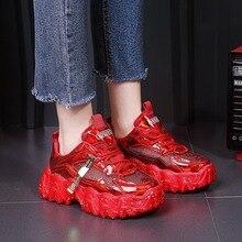 Trampki damskie wiosna 2020 moda cekinami tkaniny Bling oddychające okrągłe Toe wypoczynek Chunky kobiety buty Tenis Feminino