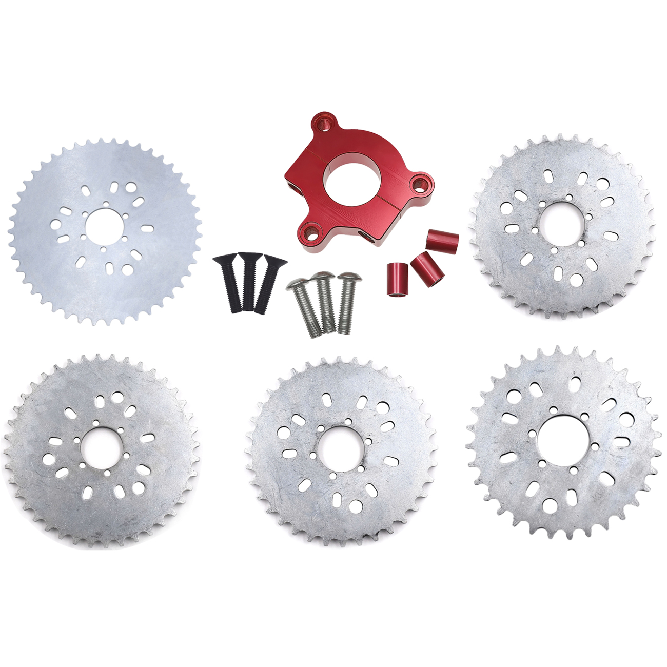 Pouvoir 32T 36T <font><b>38T</b></font> 40T 44T <font><b>Sprocket</b></font> RED CNC Adaptor For 415 Chain Motorized Bike High Quality image