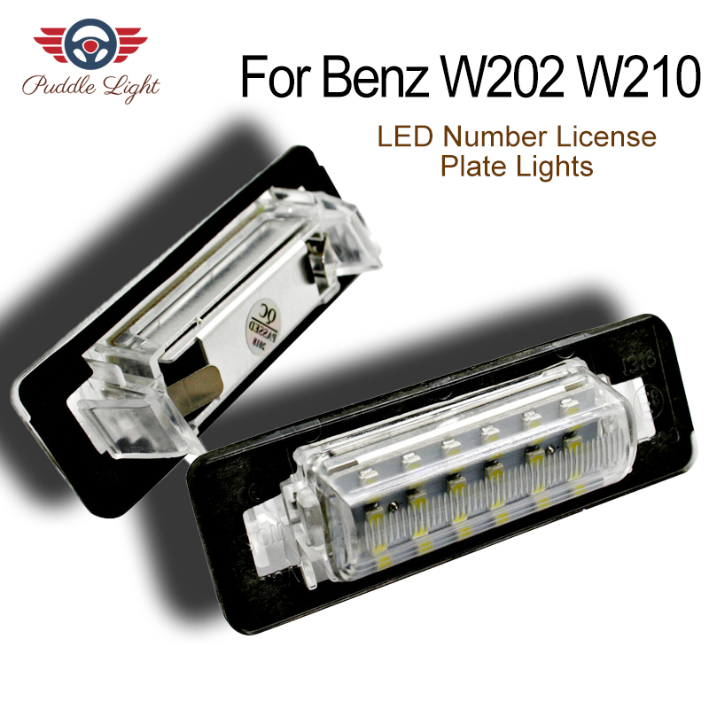 2x For <font><b>Mercedes</b></font> Benz W202 C230 C280 C43 AMG W210 E300 E320 E420 E430 E55 AMG LED Number License Plate Lights Lamp No Error image