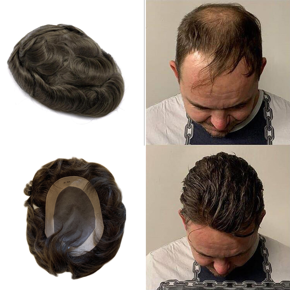 BYMC Full Mono Lace Base +pu, Natural Replacement For Men,Natural Black Hand Tied Mono Filament Base Mens Toupee Free Shipping