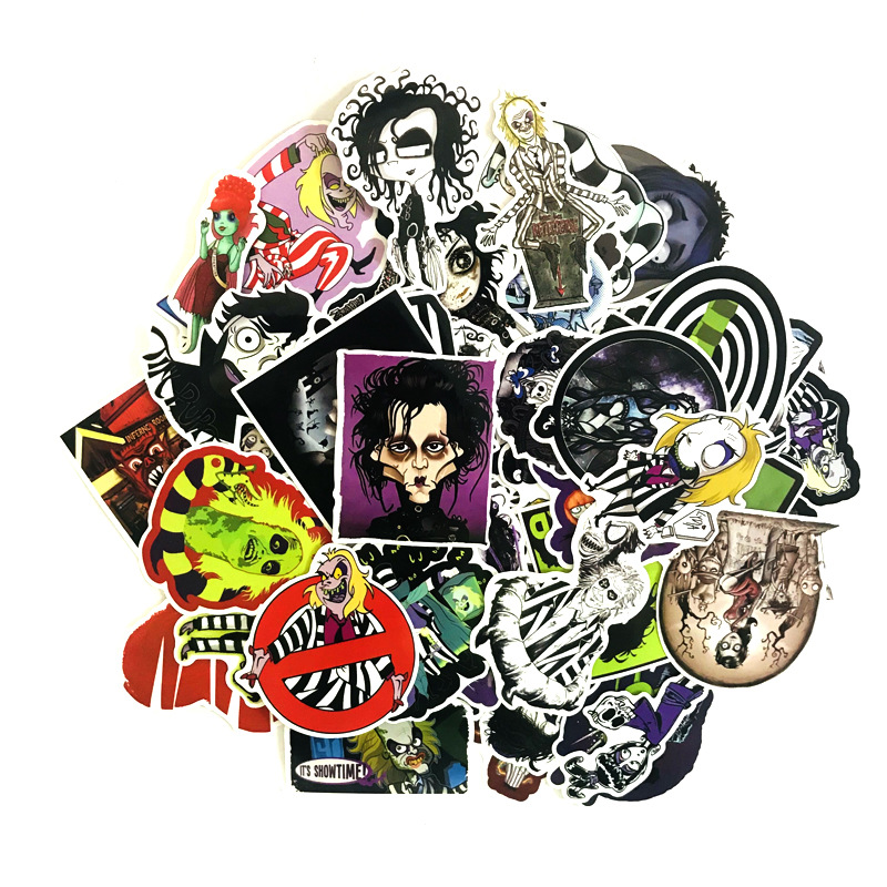 61Pcs Tim Burton Scissors Handbaggage Edward Decal Waterproof Stickers For Snowboard Laptop Luggage Car Styling Vinyl Home