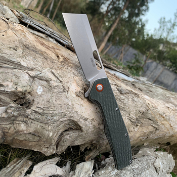 TUNAFIRE D2 steel tactical folding knife High-end linen handle ball bearing camping self-defense pocket hunting peeling tools 3