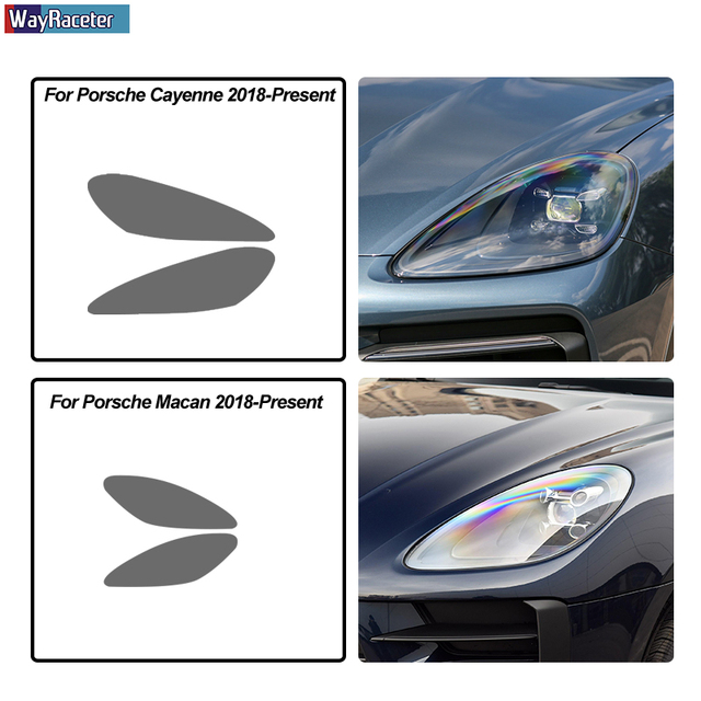 2 Pcs Car Headlight Protective Film Front Smoked Black TPU Sticker For Porsche 911 718 Cayenne Panamera Macan Taycan Accessories 6
