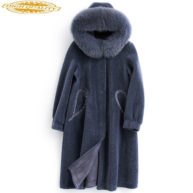 Real Fur Coat Female Fox Fur Collar Sheep Shearling Fur Jackets Winter Jacket Women 100% Wool Coat Korean Outwear MY3825