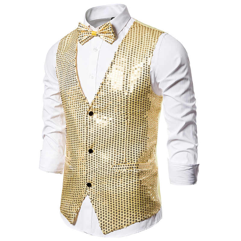 Shiny Gold Sequin Glitter Men Vest with Bowtie Slim Fit Nightclub Prom Vest Waistcoat Men Stage Singer Vests Gilet Homme Costume