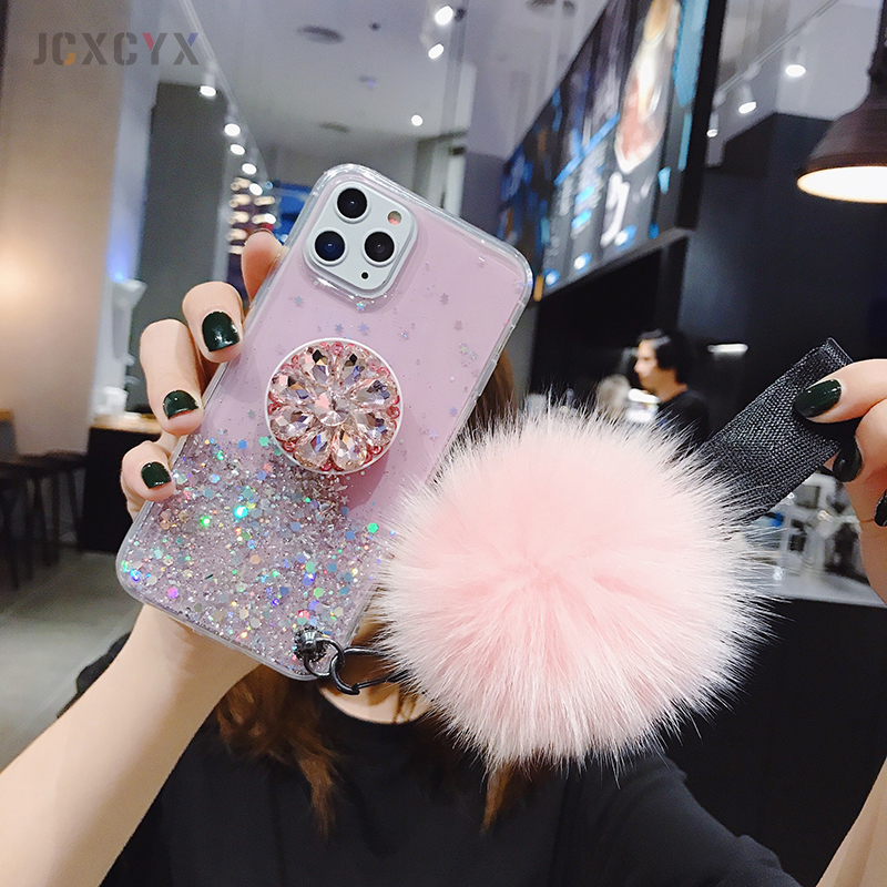Hdcbf62e56f8546669d4cc1fa74ee04c01 - 3D Diamond Holder stand Glitter Hairball soft phone case for iphone X XR XS 11 Pro Max 6 7 8 plus for samsung S8 S9 S10 Note A50