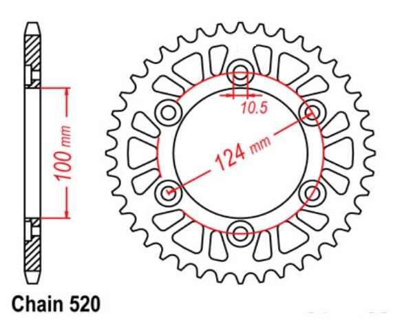 LOPOR 520 36 T-48 T Lateral Traseira Da Motocicleta Roda Dentada Para a Ducati 600 888 750 851 900 907 695 800 400 620 696 SS Monstro MH900 SP