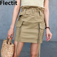 Flectit Utility Paperbag High Waist Cargo Skirt with Belt Big Pocket Strap Accent Women Fashion Outfits cheap COTTON Polyester Viscose Straight Sashes 90221 empire Solid Casual Above Knee Mini Light Khaki utility mini skirt S M L XL