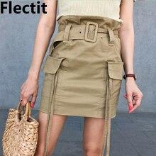 Flectit فائدة حقيبة ورقية عالية الخصر تنورة البضائع مع حزام جيب كبير حزام لهجة النساء ملابس الموضة