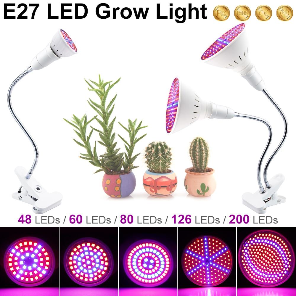 Grow LED Bulbs Seedling Flower Full Spectrum LED Phyto Lamp E27 Hydroponics LED Plant Growth Lamp Greenhouse Light 220V Fitolamp