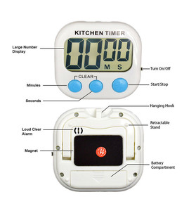 Image 4 - Magnetic LCD Digital Kitchen Countdown Timer Alarm with Stand White Kitchen Timer Practical Cooking Timer Alarm Clock