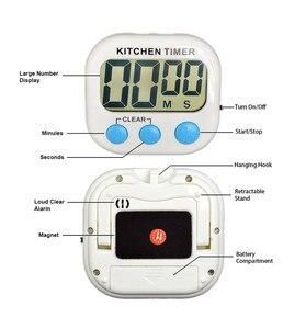 Image 4 - Manyetik LCD dijital mutfak geri sayım sayacı Alarm standı ile beyaz mutfak zamanlayıcı pratik mutfak zamanlayıcısı çalar saat