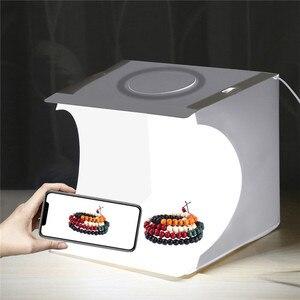 Image 3 - PULUZ 20cm Mini Estudio difuso caja de luz suave anillo LED Panel regulable luz mesa de rodaje foto estudio caja 6 fondos