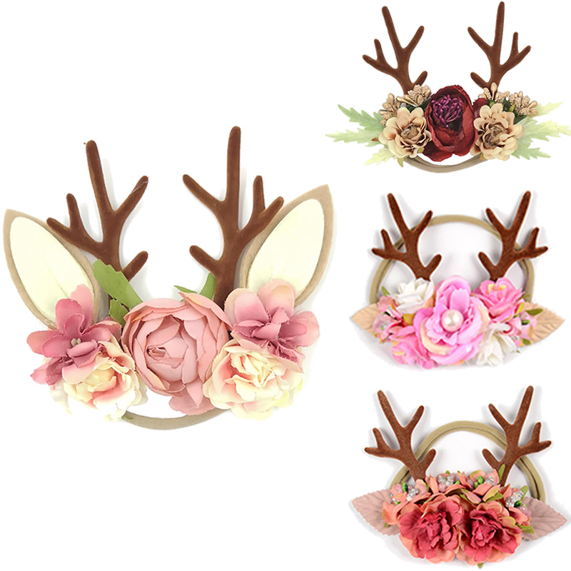 10pcs/lot Christmas Antlers Headband Baby Hair Accessories Lovely Hair Band For Party Sweet Princess Headdress Flower Headband