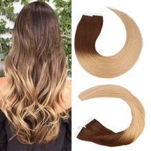 Toysww 20pcs 40pcs Tape in Hair Extensions Ombre Remy Human Hair Extensions Tape in Natural Hair 14-24 inch
