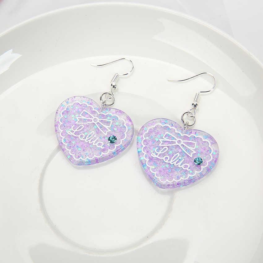 1 Pasang Cute Multicolor Resin Glitter Pipih Anting-Anting Hati untuk Hadiah Ulang Tahun Anak-anak Wanita Perhiasan