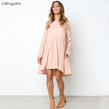 New Autumn And Winter crew neck Solid Midi Dress Women Long Sleeves Knees Casual Dresses Pleated Sundress 2019 Female Vestidos
