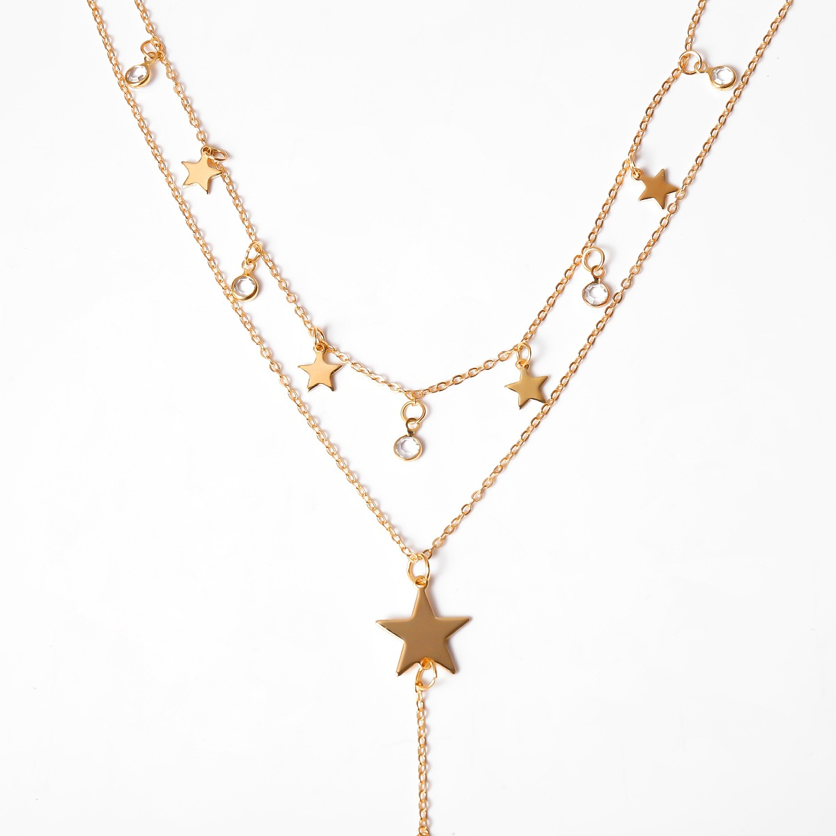 Five Pointed Star Tassel Thin Chain Multilayer Fashion Jewelry Female Choker Necklaces Pendant Necklaces