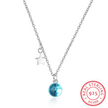 New Fashion Crystal Blue Planet Star Necklace For Women 925 Sterling Silver Clavicle Chain Necklace S-n299(China)