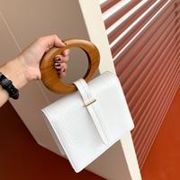 Round Wood Handle Flap Handbag