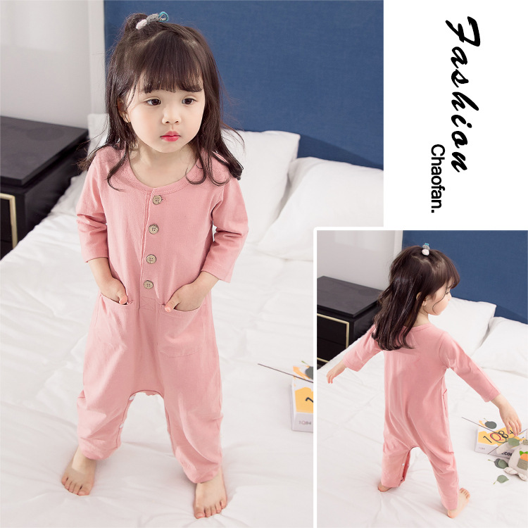 CHILDREN'S Underwear One Piece Body Crawling Clothes Pajamas Girls Child HEATTECH Baby Spring And Autumn Home Base Shirt