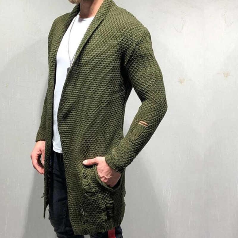 Nueva llegada de los hombres suéter de otoño moda patrón de diseño de estilo coreano de manga larga Hombre Cardigan suéter slim fit suéter Casual