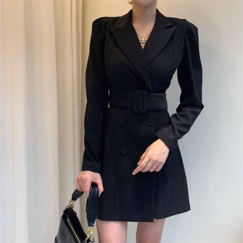HziriP Retro tatlı ofis bayan moda yeni ince bel kontrollü yumuşak kadınsı yüksek kaliteli kadın tüm maç Mini elbiseler