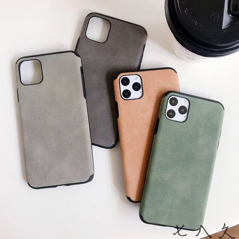ONEVON Frosted leather non slip Simple solid color style for iphone6/7/8/puls/X/XR/XM/11/11p/11pm Mobile phone case