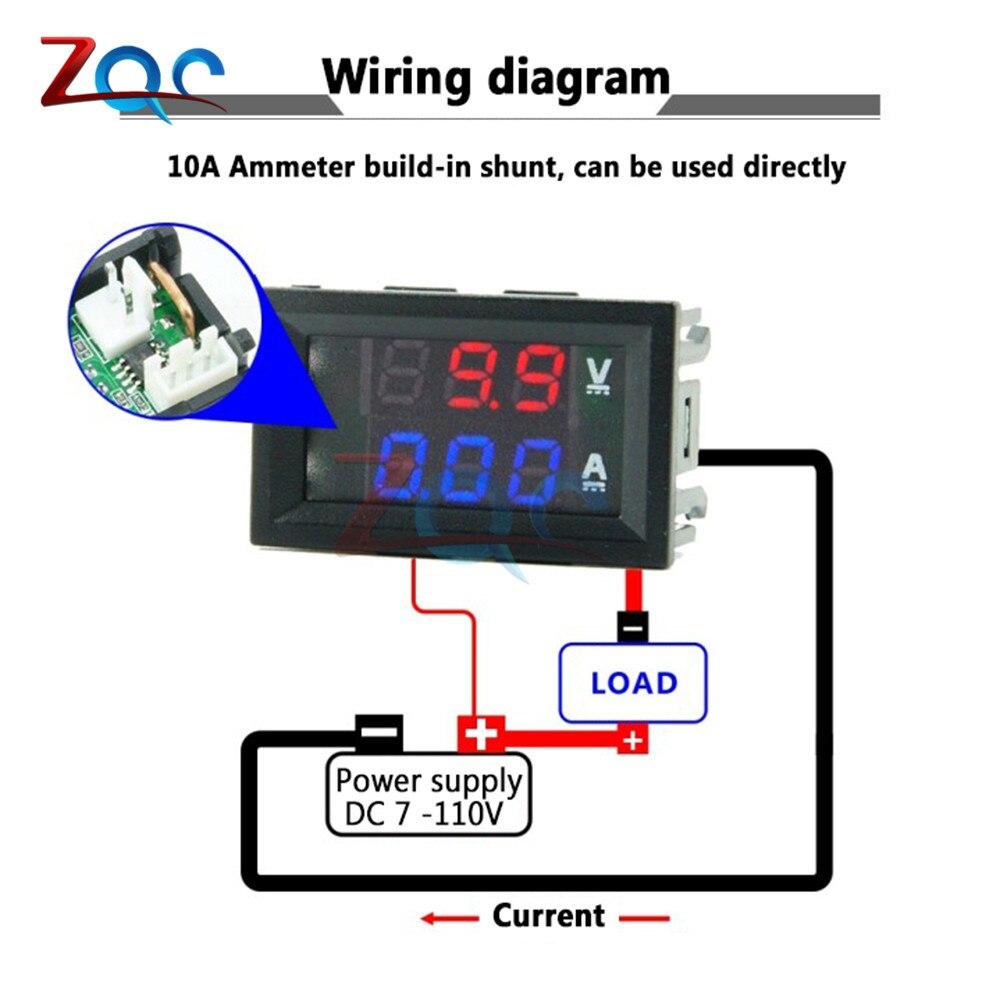 Mini Digital Voltmeter Ammeter Dc 0 100v Dc 7 110 10a Voltage Current Meter Tester Detector 0 28