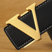 Brand Designer V Buckle Belt For Men Genuine Leathe
