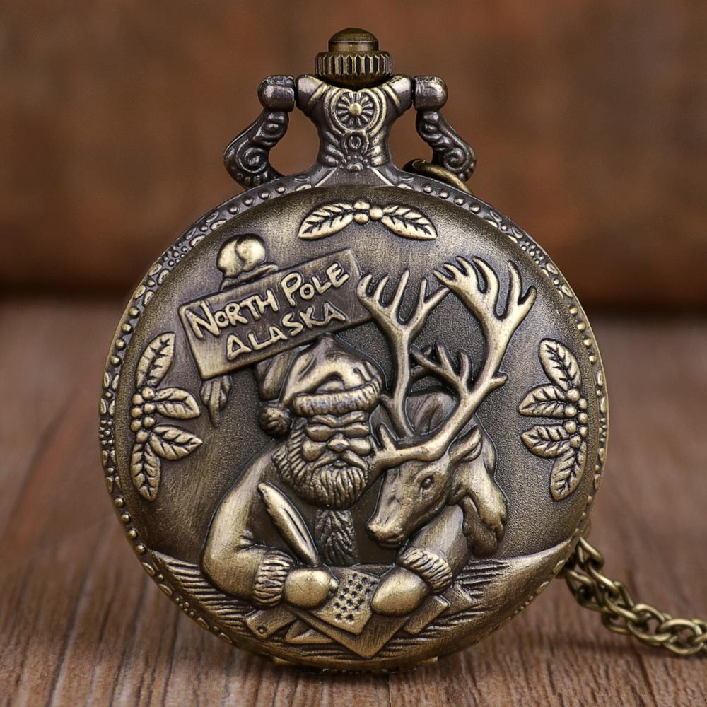 New Vintage Bronze Quartz Pocket Watches Mens Womens Santa Claus Pocket Watches Necklace Chain Clock Christmas Gifts