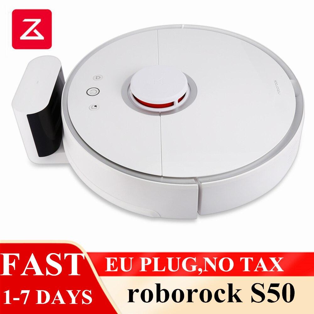 Roborock s50 xiao mi robô aspirador de pó 2 mi inteligente tapete limpeza poeira varrendo molhado esfregar robótico planejado limpo plugue da ue