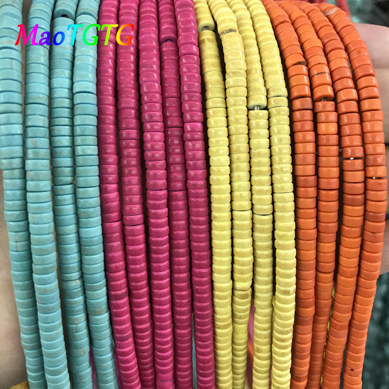 Купить с кэшбэком MixColor Turquoises Round Spacer  Beads For Jewelry Making Necklace Bracelet 4x2mm Flat Round Beads Jewelry Making Wholesale
