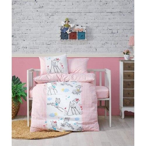 Bambi Pink Baby bed Set 100 Cotton Bedding Set