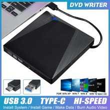 Tip-c USB 3.0 harici DVD sürücü 5Gbps yüksek hızlı Ultra İnce taşınabilir CD/DVD RW ROM harici sürücü dizüstü bilgisayar Windows XP/7/8/10