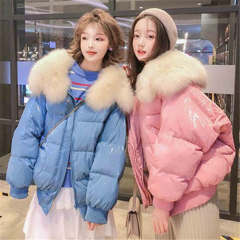 White Duck   Down   Parkas Winter Jacket Women Large Natural Fur Collar Bright Side   Coat   Female Loose Snow Outwear